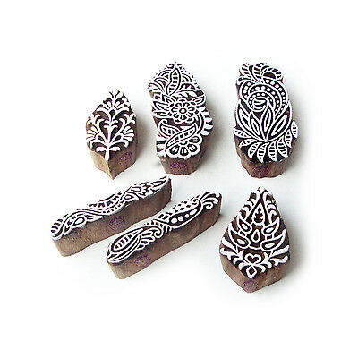 Flower and Border Contemporary Motif Wood Print Stamps (Set of 6)