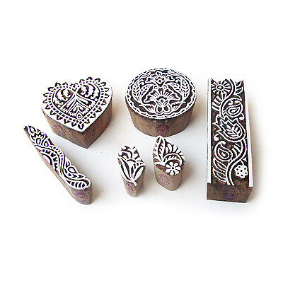 Heart and Border Decorative Designs Wood Blocks for Printing (Set of 6)