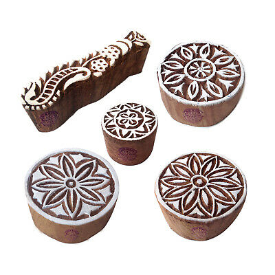 Rural Shapes Persian and Round Wood Blocks for Printing (Set of 5)