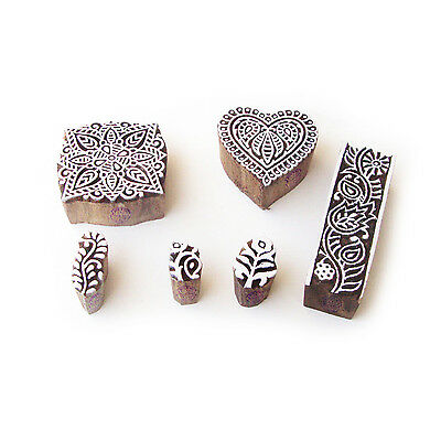 Heart and Square Hand Crafted Designs Wood Print Blocks (Set of 6)
