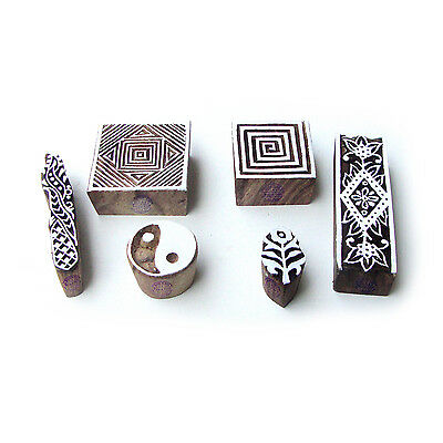 Geometric and Floral Decorative Motif Block Print Wood Stamps (Set of 6)