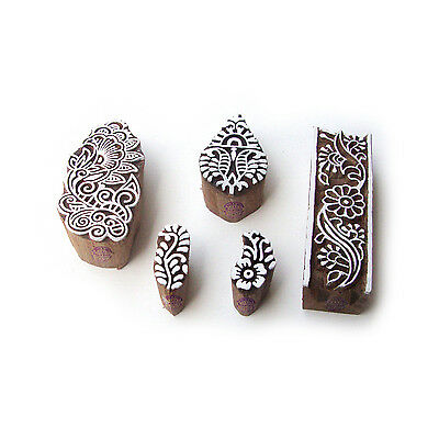 Assorted and Floral Decorative Pattern Wood Block Print Stamps (Set of 5)