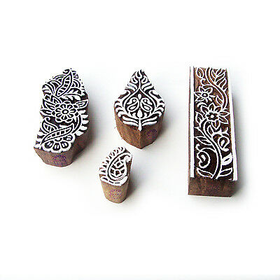 Border and Floral Hand Carved Pattern Wood Block Print Stamps (Set of 4)
