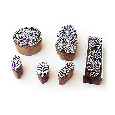 Flower and Round Designer Pattern Wood Block Print Stamps (Set of 6)