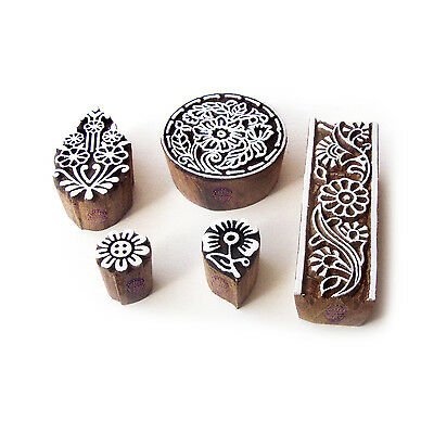 Flower and Round Exclusive Motif Block Print Wood Stamps (Set of 5)