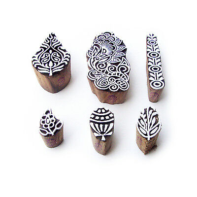 Flower and Leaf Hand Crafted Motif Wood Block Stamps (Set of 6)