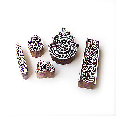 Ganesha and Floral Hand Crafted Motif Block Print Wood Stamps (Set of 5)
