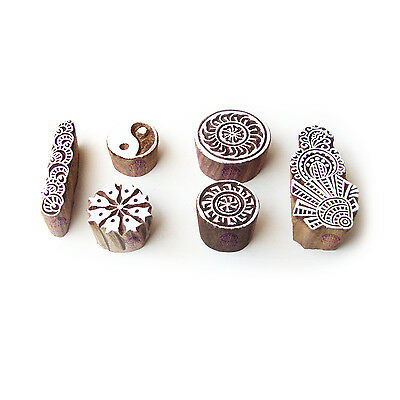 Round and Floral Original Motif Wood Block Stamps (Set of 6)