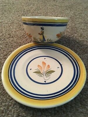 Henriot Quimper France 1940's French Peasant Woman Handpainted Cup & Saucer