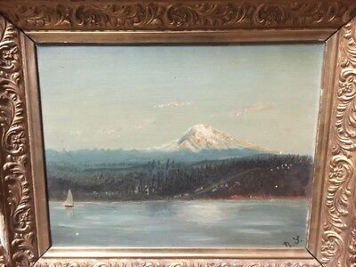 Rare Antique 1800s Original Painting Art Plein Air PNW Landscape Mt Rainier WA?