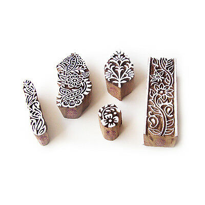 Flower and Assorted Jaipuri Motif Block Print Wood Stamps (Set of 5)
