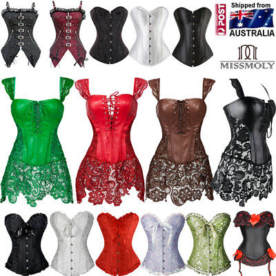 Size S-6XL Women Black Overbust Boned Corset Burlesque Basque Lace-Up Costume