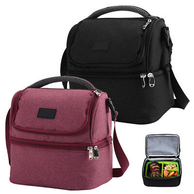 Miuline 7L Dual Compartment Insulated Lunch Bag Cooler Bag School Picnic Work