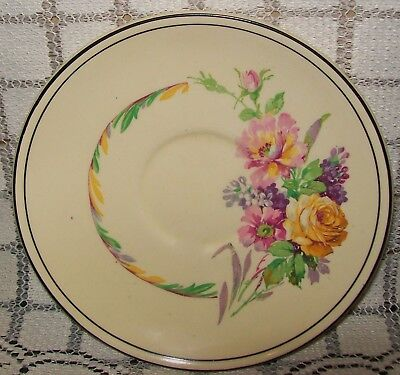 VINTAGE MYOTT CREAM HAND PAINTED FLORAL ORPHAN SAUCER 14.5cm