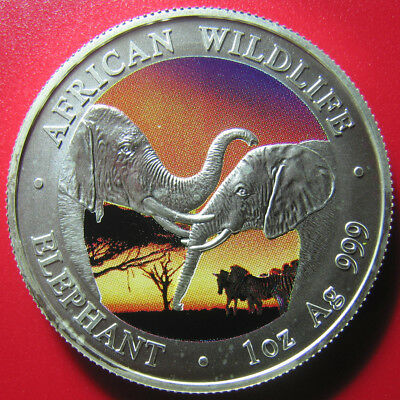 2002 ZAMBIA 5000 KWACHA 1oz SILVER COLORIZED AFRICAN ELEPHANT WILDLIFE RARE!