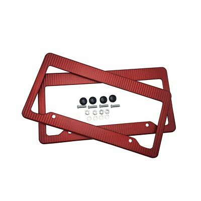 Car Carbon Fiber Red Front Rear License Plate Frame Cover with Screws Caps 2pcs