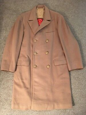 """Mens Valstar 100% Wool Tan Trench Coat, Made In Italy, Size 44""""-46"""""""