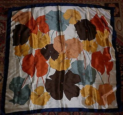 Vintage Polyester Abstract Floral  Print  Scarf Good Condition
