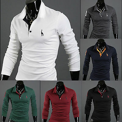 Mens Stylish Slim Fit Long Sleeve Casual Golf Polo Shirts T-shirt Tee Tops Shirt