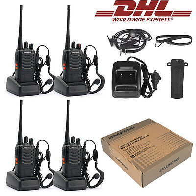 DHL! 4* Baofeng BF-888S + 4*Headset UHF CTCSS/CDCSS Hand-Funkgerät Walkie-Talkie