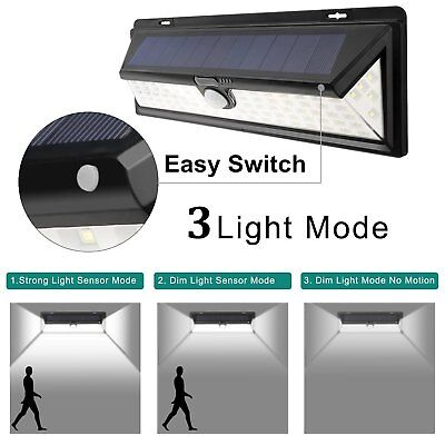 90 LED Solar Power PIR Motion Sensor Wall Lights Waterproof Outdoor Garden Light