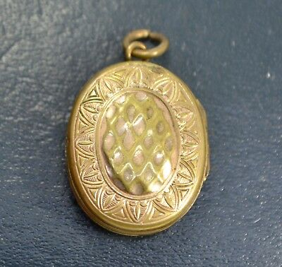 Victorian Double Sided Gilt Metal SUNFLOWER Opening Locket / Pendant - Antique