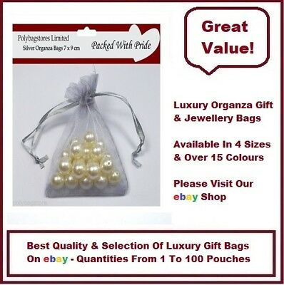 SILVER 9 x 12 Luxury Organza - Gift Bags Jewellery Pouches Wedding Party