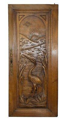 French Antique Carved Heron Bird Wood Cabinet Door Panel - Fishing Cabin Decor