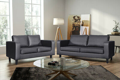 New Faux Leather Box Sofa Set Couch Black Brown Grey 3 Piece Suite Amazing Value