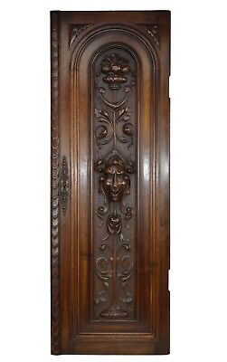 French Antique Neo Gothic Large Carved Salvaged Wood Door Panel Grotesque