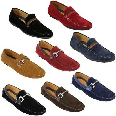 02bc3ad4b89ea Mens Moccasins Suede Look Shoes Driving Loafers Slip On Boat Ribbon Italian  New