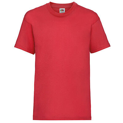 Plain Red Fruit of the Loom 100% Cotton Childrens Kids Boys Girls T Shirt Tee