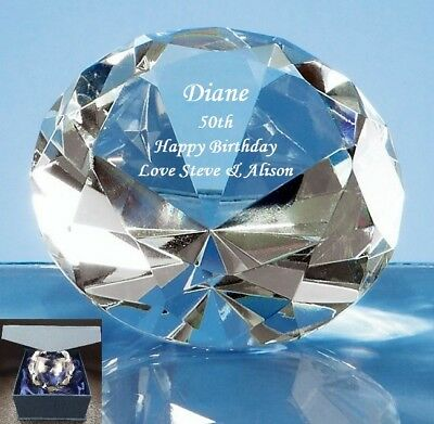 Engraved & Personalised Diamond Paperweight 8cm - 50th 60th 70th Birthday Gift