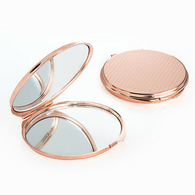 Small Compact 6cm Rose Gold Colour Metal Double Sided Mirror Handbag Makeup