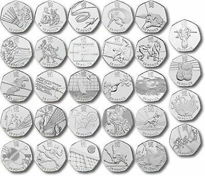 London Olympic 2012 50p Coins - Triathlon Football Judo Wrestling - FREE POSTAGE