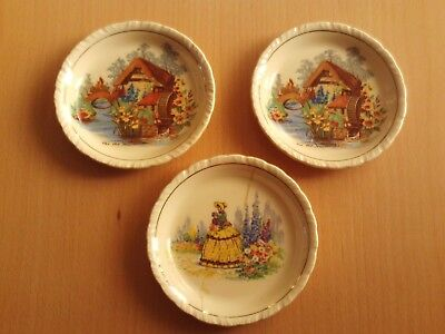 Vintage New Hall Hanley Staffordshire Pin Dish.The Old Mill X2 +Crinoline Lady .