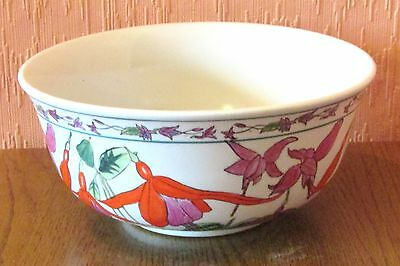 Kewdos Hand-made and Hand-painted Porcelain Bowl with Fuchsia Clusters.