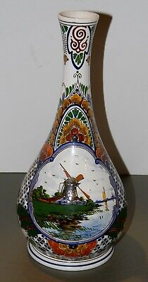 "VTG ANTIQUE 1926 GOUDA ZUID HOLLAND ART POTTERY BUD VASE 11 1/2 "" Well Marked"