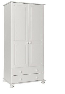 Copenhagen white home bedroom furniture 2 door 2 drawer wardrobe
