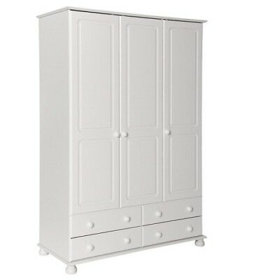 Copenhagen white home bedroom furniture 3 door 4 drawer wardrobe