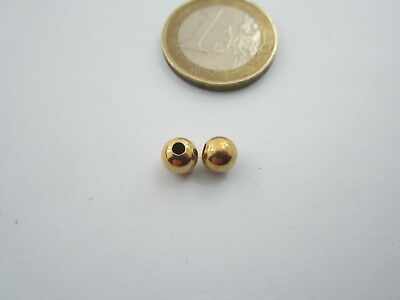 1 pallina in argento 925 placcatooro giallo lucido 6 mm  made in it  foro 2 mm