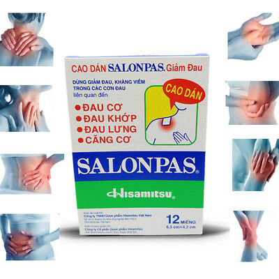 SALONPAS Pack of 12 PAIN RELIEF PATCHES 12 hour, Joint, Muscle,Sprain, Arthritis