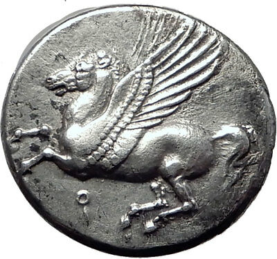 CORINTH 345BC Athena Pegasus Authentic Ancient Silver Greek Stater Coin i65196