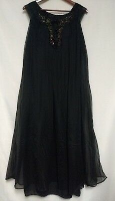 Vintage CHIC Lingerie Black Sheer Lined Long Baby Doll Night Gown Style# 4106
