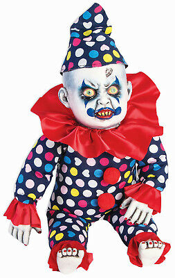 Evil Creepy Clown Doll Baby with Hat Lifesize Halloween Decoration Prop