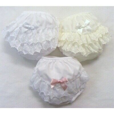 Baby Girls White/White-Pink/Cream Frilly Lace Knickers with Bow S.M L and XL