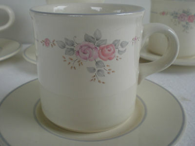 SET OF 4 Retired PFALTZGRAFF Coffee Cup & Saucer TROSSEAU PATTERN Delicate Roses