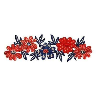 020ed5acb40 ID 1085Z American Flowers Band Patch Patriotic USA Embroidered Iron On  Applique