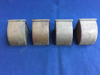 4 Reclaimed Vintage Solid Brass Furniture End Caps