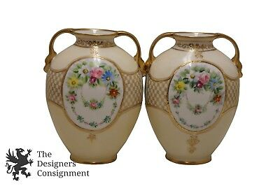 """2 Antique Morimura Bros Nippon Hand Painted Moriage Handled Vases 6.5"""" Floral"""